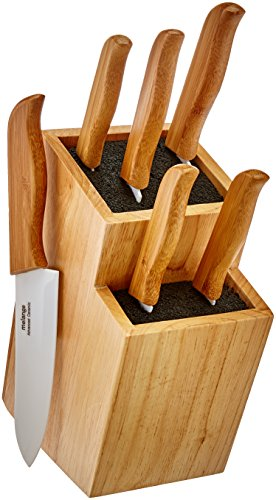 Melange 10-Piece Bamboo Handle and White Blade Ceramic Knife Set with 2-Tier Wood Universal Knife Block
