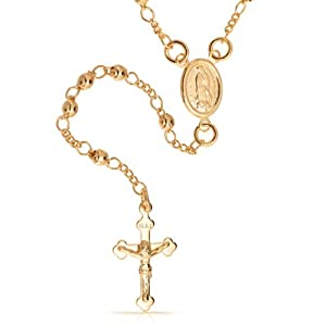 Bling Jewelry 14K Gold Filled Rosary Beads Modern Virgin Mary Cross Necklace