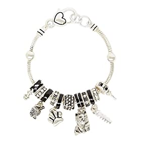 Cat Theme Black Designer Style Charm Bracelet Fashion Jewelry