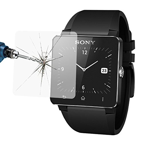Excelvan Premium Glass Film 0.2mm Real Tempered Glass Screen Protector with Ultra-high Light Transmittance Virtually Invisible and HD Clear for Smart watch SONY SW2 (For SONY SW2)