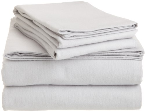Pinzon 160-Gram Solid 100-Percent Cotton Flannel Sheet Set, California King, Grey front-945200