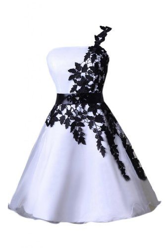Emma Y New One-shoulder Organza Short Homecoming Dress Mini Gowns -US Size 6 White
