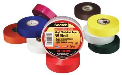 "3M Scotch 35 Vinyl Color Coding Electrical Tape, 32 To 221 Degree F, 1250 Mv Dielectric Strength, 20' Length X 1/2"" Width, Orange"