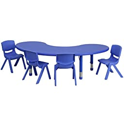 Tadpole 35\'\'W x 65\'\'L Adjustable Half-Moon Blue Plastic Activity Table With Set of 4 School Stack Chairs