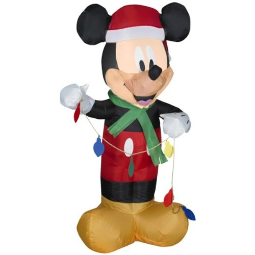RARE - 3.5 ft. - Disney - Gemmy Christmas Airblown Inflatable - LED - Mickey Mouse Holding Set of Lights
