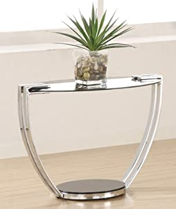 Roosevelt Contemporary Metal End Table with Glass Top by Coaster