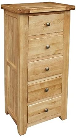 Devon Oak 5 Drawer Tall Chest (DEV-03)