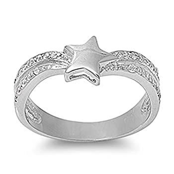 Sterling Silver Woman's Star White CZ Ring Promise Comfort Fit 925 Band New 8mm Size 9 deal 2015
