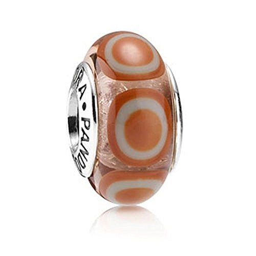 Genuine Pandora Orange Stepping Stones Glass Charm, 790912