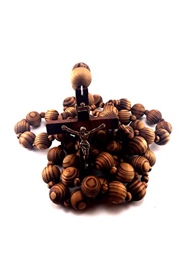 Giant Big Beads Rosario Natural Wood Chain Jesus Cross Xl Large 40