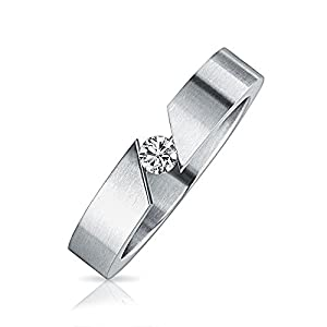 Bling Jewelry Stainless Steel .1ct Tension Set Unisex Ring