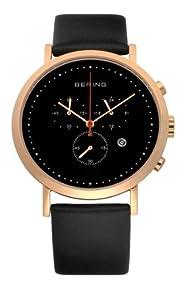 Bering Classic - Reloj cronógrafo de caballero de cuarzo con correa de piel negra - sumergible a 50 metros marca Bering