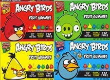 Angry Birds Fruit Gummies Combo Case 3.5oz 12 Pack (3 Each of Green, Yellow, Red & Blue)