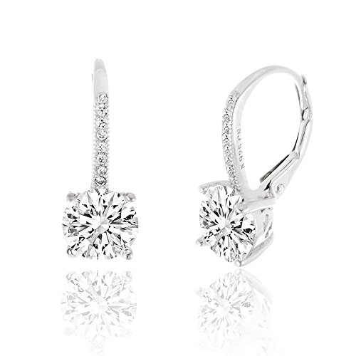 SPECIAL OFFER 18K White Gold Over Sterling Silver Round Cubic Zirconia Drop Leverback Earrings (Cheap White Gold Rings compare prices)