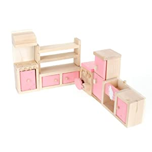 Dollhouse Furniture Wooden Toy Kitchen Set Sports Outdoors