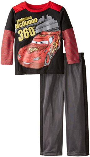 Disney Little Boys' 2 Piece Lightning McQueen Twofer Jersey Set, Black, 3T
