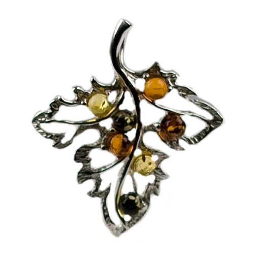 Multicolor Amber and Sterling Silver Autumn Leaf Pendant