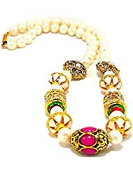 SRRK MultiColor Gold Plated Necklace With Real Pearls (Fresh Water) For Women (PRL0125)