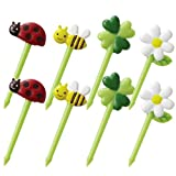 CuteZCute Bento Food Pick, 8-Piece, Honey Bee Flowers