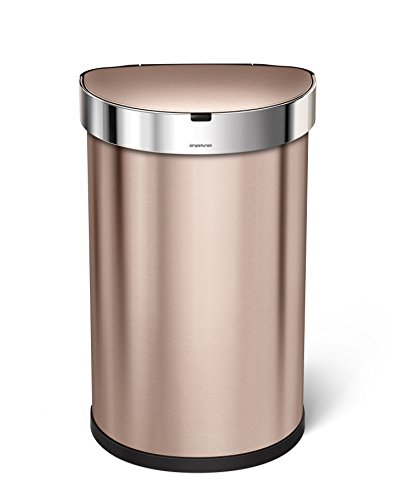 simplehuman 45L Semi-Round Sensor Can, Touchless Motion Sensor Garbage Bin, Rose Gold Stainless Steel, 45 L / 11.8 Gal (Vintage Garbage Can compare prices)