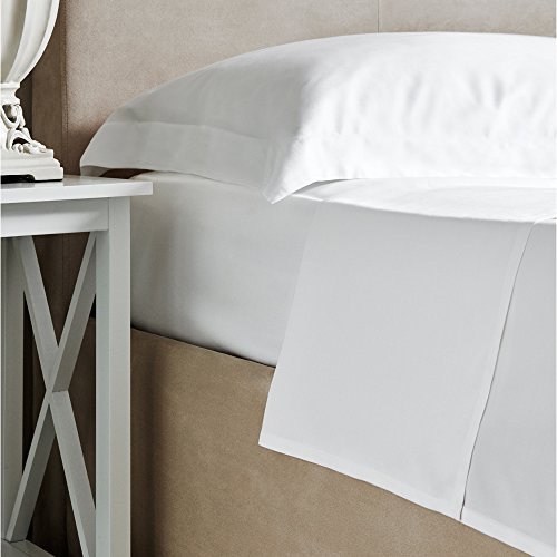 Lenzuola Letto in Bambù - Bambù 100% Lusso Bianco Lenzuola Piane - 300 Numero Fili - Super King - 275cm x 260cm (LxW)