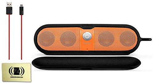 Beats By Dr. Dre Pill Portable Speaker (Neon Orange) Bundle With Beats Pill Sleeve (Black), Beats Usb Cable (Type A To Micro B) And Custom Designed Zorro Sounds Cleaning Cloth