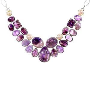 Yazilind Collar Teardrop Natural Amethyst Pearl Noble Bib Chunky Statement Necklace