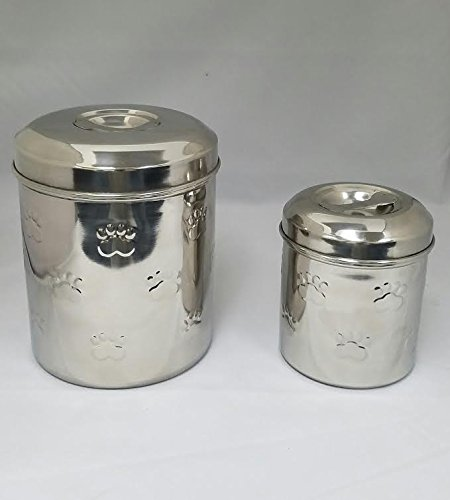 Set of 2 Stainless Steel Pet/Dog Canister w/ Paw Print Design (Dog Food Storage Stainless Steel compare prices)