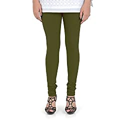 Vami Cotton Churidar Leggings in Olive Color _VM1001(13)