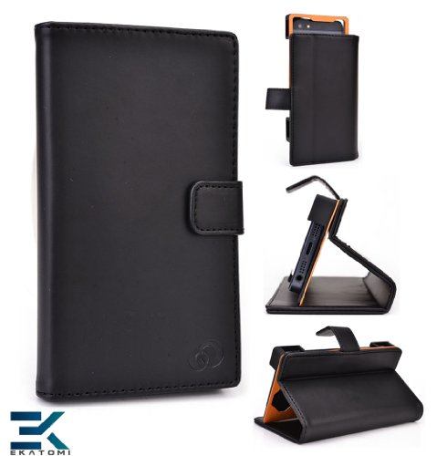 Pu Leather Universal Book Folio Phone Cover Fits Samsung Galaxy S Iii Mini Value Edition Case - Black. Bonus Ekatomi Screen Cleaner