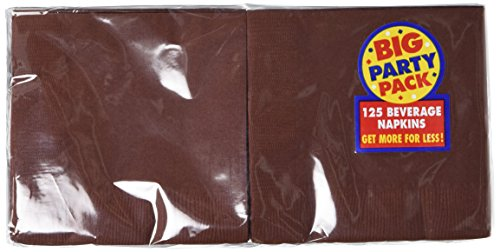 Amscan Big Party Pack 125 Count Beverage Napkins, Chocolate Brown