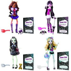 Monster High Dolls: Frankie Stein, Draculaura, Lagoona Blue, Clawdeen