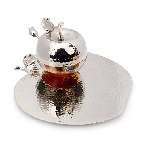 Classic Touch JHT342 Rosh Hashanah Honey Dish with Spoon, 9-Inch, Silver