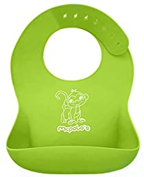 McPolo\'s Cutest Monkey Moo iBib 100% Portable Silicone Baby Bib - Waterproof Food Crumb Catcher Pocket Ultra Soft Easily Wipes Clean Stains Off - Best for 2 MO to 6 YO Babies Toddlers PreSchoolers