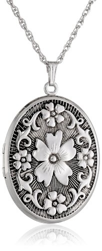 Sterling Silver Oval Embossed Floral Antique Finish Locket Necklace, 22