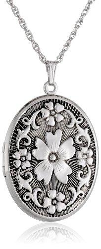 Sterling Silver Oval Embossed Floral Antique Finish Locket Necklace, 22
