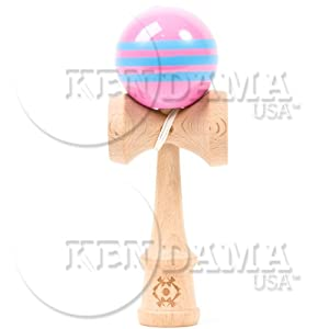 Kendama USA Tribute Kendama - Pink W. 3 Lt Blue Stripes