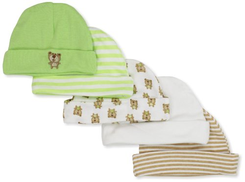 Gerber Unisex-Baby  Bears 5 Pack Cap, Green/White, Newborn