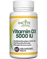 Vitamine D3 en forte dose 5000 UI 365 comprimés (une année d'approvisionnement) - cholécalciférol - bénéfique au système immunitaire, aide à renforcer les os et les dents - petits comprimés de 6 mm pas en gélules ni en capsules - bonne Source de vitamine D - le meilleur supplément de D3 - 100 % végétarien sans produits laitiers et sans Gluten - fabriqué au Royaume-Uni