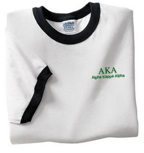 Alpha Kappa Alpha Ringer T-Shirt, Embroidered