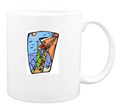 Mug with human, body, individuals, individual, persons, ship, humans, people, woman, waving, person, goodbye, cruise, vacation