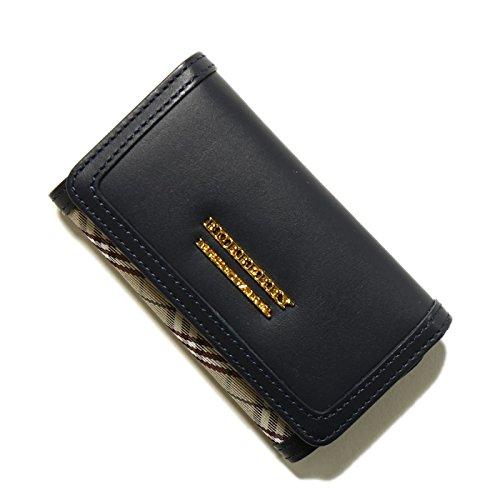 バーバリーブルーレーベル チェック柄 キーケース ブラック系 33466 e2207-101-28 本革