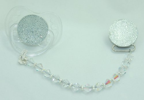 Sparkly Clear Gift Set Pacifier and Clip S-NB