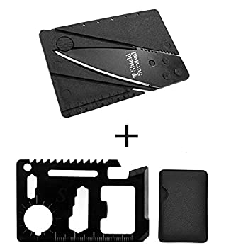ShieldSurvival 11 Function Black Tungsten Steel Credit Card Size Survival Kit Multi Tool with 1 Credit Card Size Folding Knife with Packaging