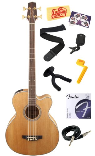 Takamine Gb72Ce G Series Jumbo Cutaway Acoustic-Electric Bass Guitar With Rosewood Fretboard Bundle With Strings, Strap, Instrument Cable, Wall Hanger, Tuner, Stringwinder, Picks, And Polishing Cloth - Natural