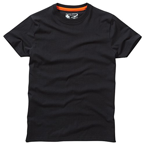 Charles Wilson Plain Crew Neck T-Shirt (Large, Black)