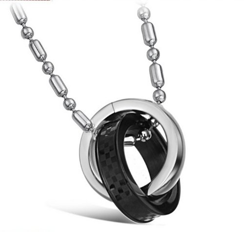 JBG Jewellery Necklace Stainless Steel Neckwear Chains 2 Circular Pendant Black Plated Necklet For Men With a Jewellery Box