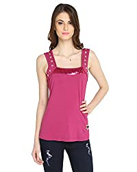 Bedazzle Casual Sleeveless Women's Pink Top