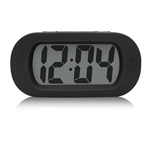 Gurgle LCD Digital Large Screen Alarm Clock Multi-function with Silicone Protective Cover, Great for Elderly People, Table or Wall Clock , Desk Bedside, Offices Conference Rooms, and School Classrooms (Black)