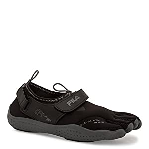 Fila Women's Skele-toes EZ Slide Drainage Outdoor Sneakers, Black Textile, Synthetic, 7 M